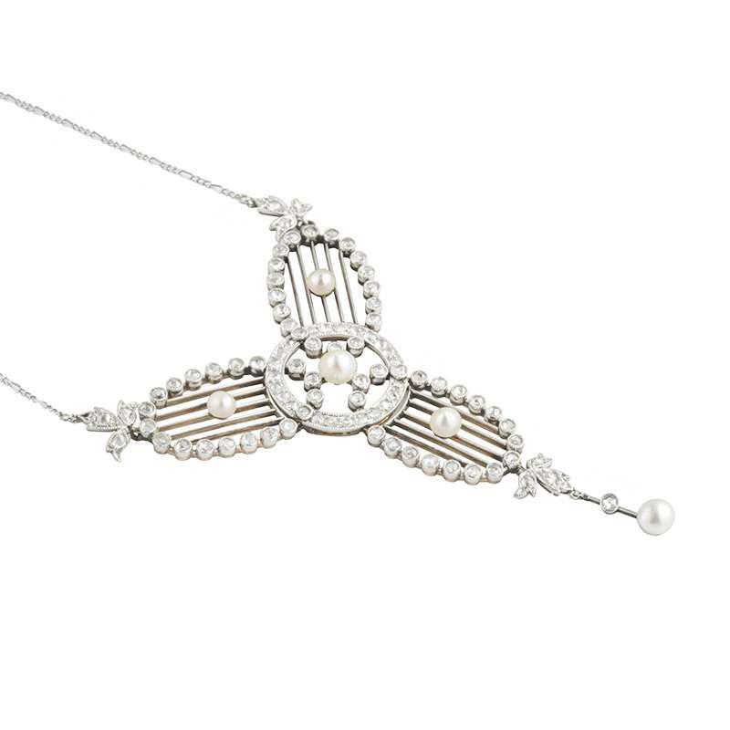 Art Deco Diamond & Pearl Set Necklace in Platinum